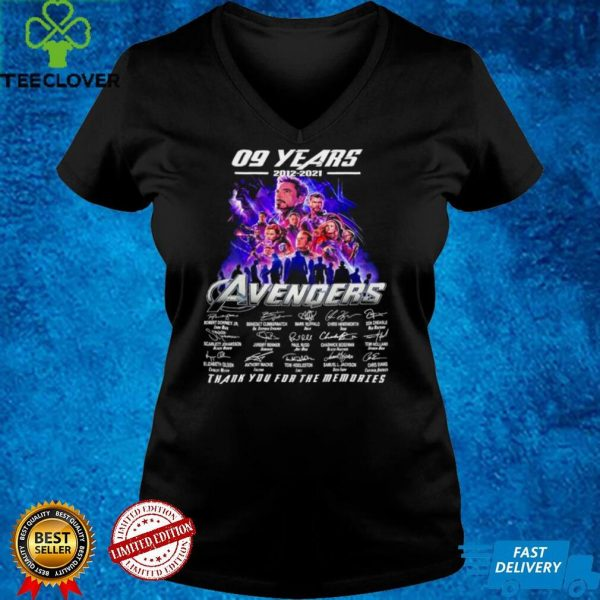 09 years 2012 2021 Avengers thank you for memories signature shirt