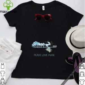 Peace Love Music Guitar Lake Shadow Hippie T-Shirt