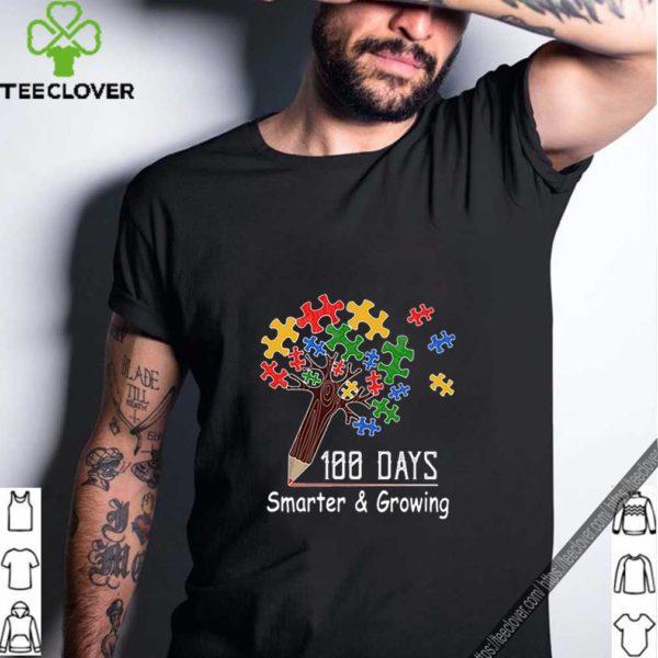 100 days smarter & growing tree of life puzzle Autism Awareness shirt