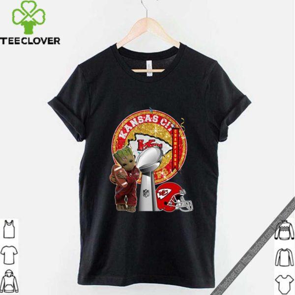 Baby Groot Kansas City Chiefs Super Bowl Champions Hot T-Shirt