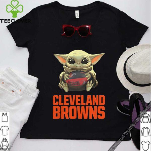 Baby Yoda Hug Cleveland Browns Logo Star Wars shirt