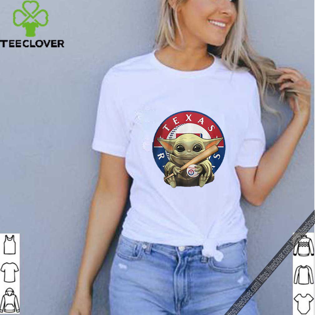Baby Yoda Hug Texas Rangers Logo Star Wars shirt