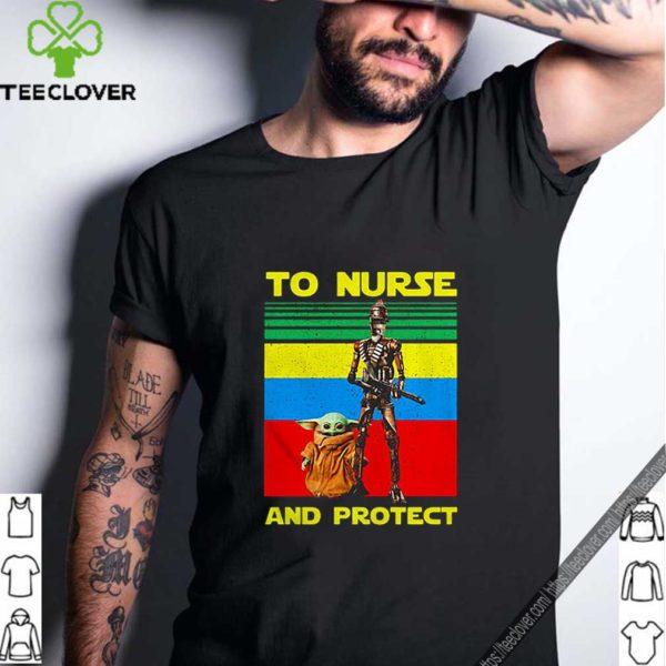 Baby Yoda and IG-11 to nurse and protect vintage shirt