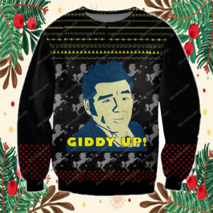 Cosmo Kramer Giddy Up 3D Print Ugly Christmas Sweater - Dio Store