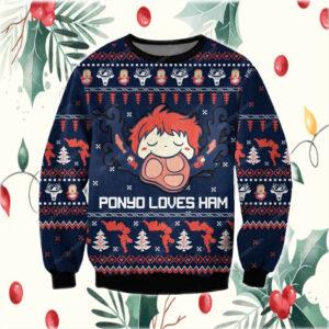Ghibli Studio Ponyo 3D Print Ugly Christmas Sweatshirt