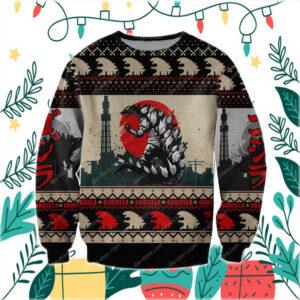 Godzilla Knitting Pattern 3D Print Ugly Christmas Sweater