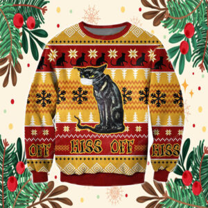 Hiss Off Cat 3D All Over Print Ugly Christmas Sweater