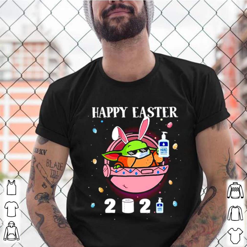 2021 Baby Yoda wearing face mask Happy Easter shirt 3