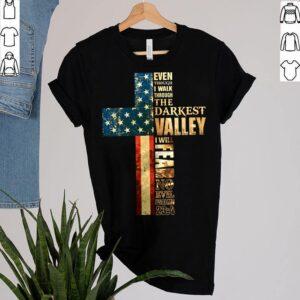 Best Faith Cross American Flag Shirt Walk Through Darkest Valley Veteran Memorial T Shirt 2