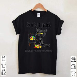 Cat painting because murder is wrong shirt 3