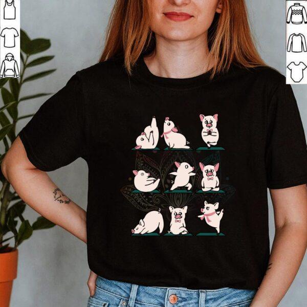 Funny Yoga Pig Lovers Birthday Shirt Farm Animals Pigs Namaste Peace Mandala T Shirt 3