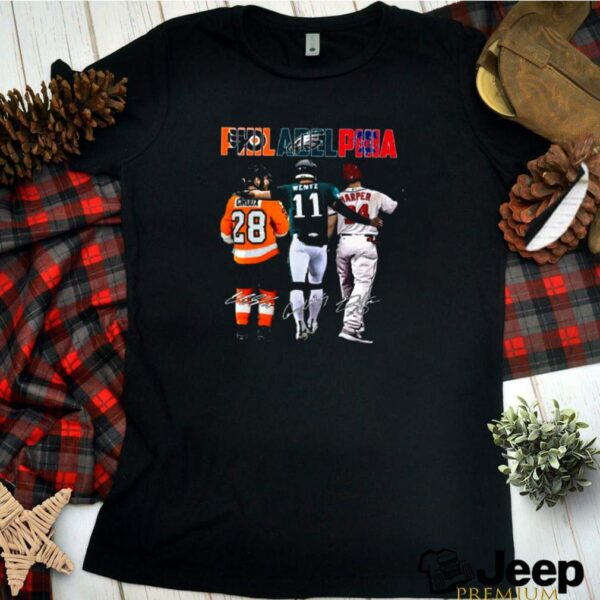 Philadelphia Sport Teams 28 Giroux 11 Wentz And 34 Harper Signatures shirt