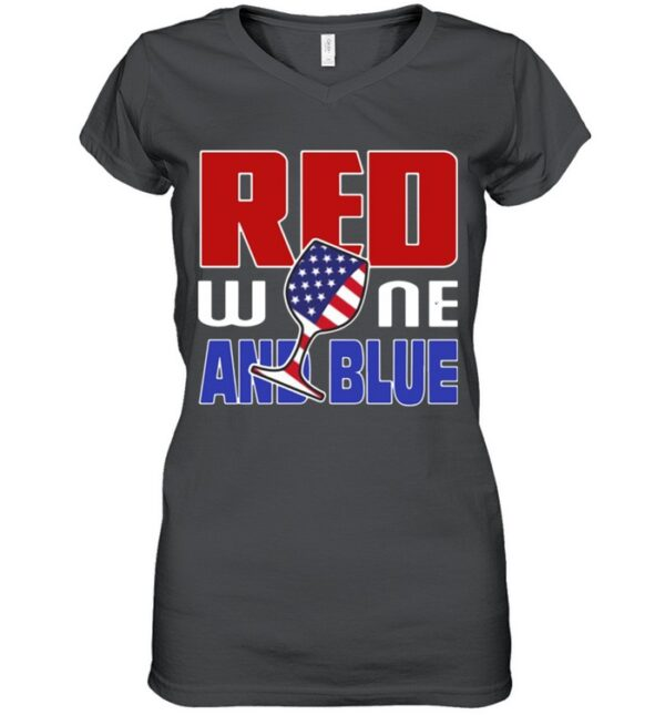 American red wine and blue shirt