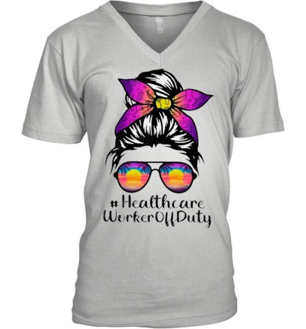 Beach Summer Sunglasses Messy Bun Mom Healthcare Worker Off Duty shirt