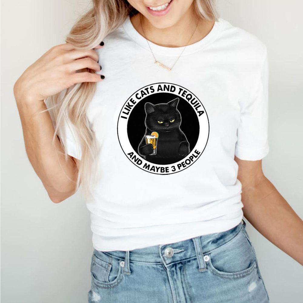 Black Cat I Like Cats And Tequila And Maybe 3 People T shirt 5