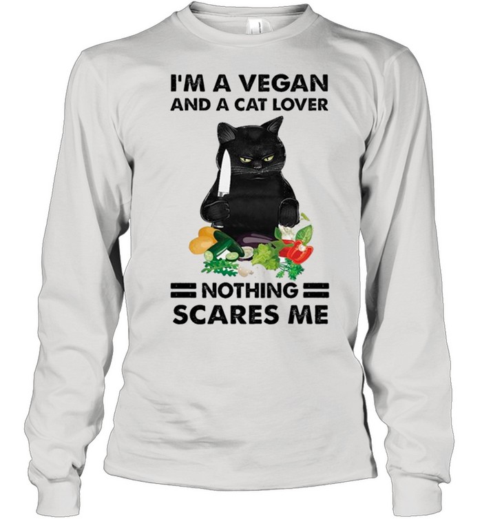 Black Cat Im A Vegan And A Cat Lover Nothing Scares Me shirt 12