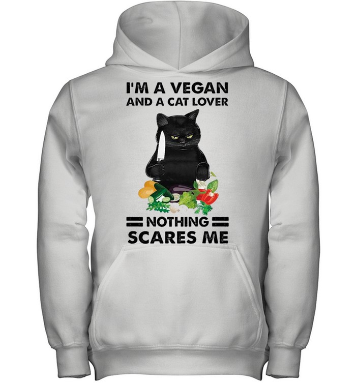Black Cat Im A Vegan And A Cat Lover Nothing Scares Me shirt 10