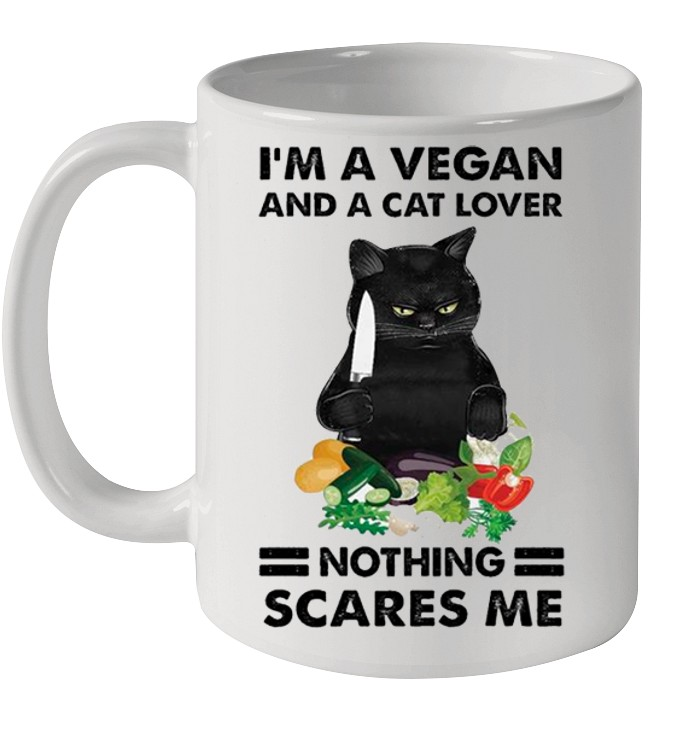 Black Cat Im A Vegan And A Cat Lover Nothing Scares Me shirt 8