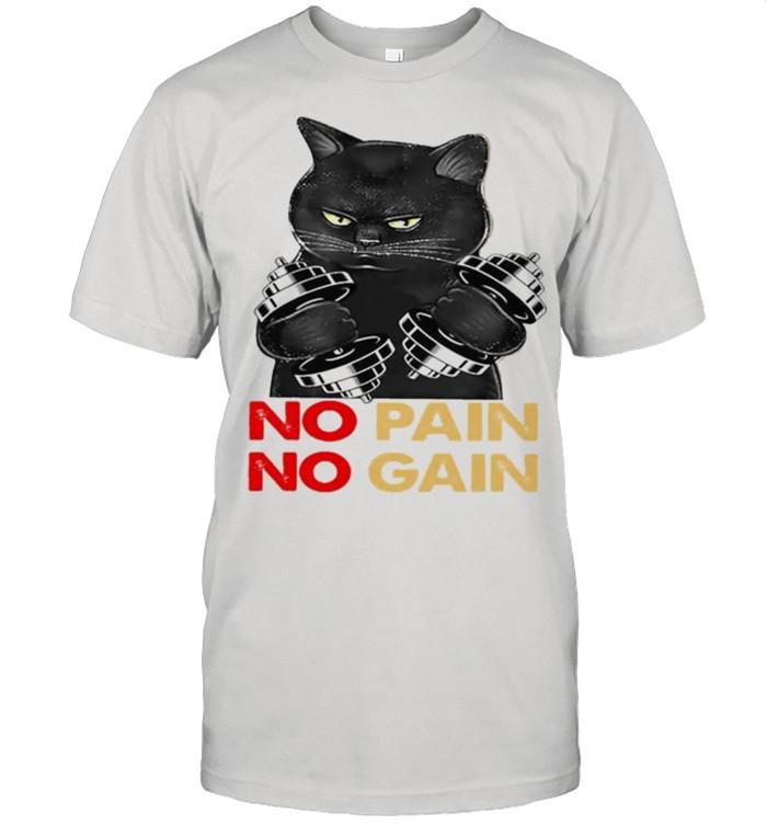Black cat no pain no gain shirt 5