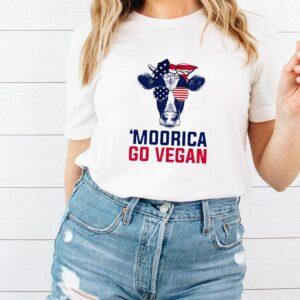 Cow American Flag Moorica Go Vegan T shirt