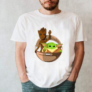 Cute Waving Baby Groot Baby Yoda In Hover Pram Gift Star Wars Guardians Of The Galaxy Shirt