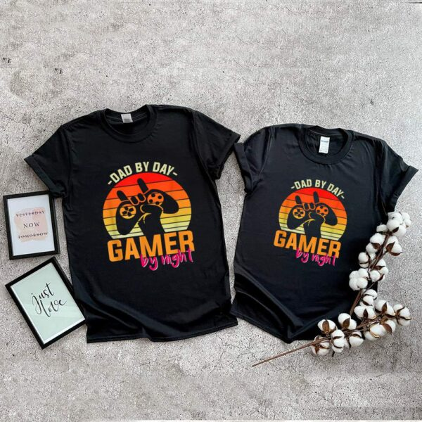 Dad By Day Gamer By Night Retro Sunset shirt