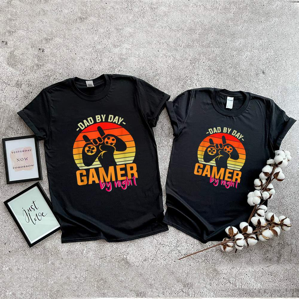 Dad By Day Gamer By Night Retro Sunset shirt 2