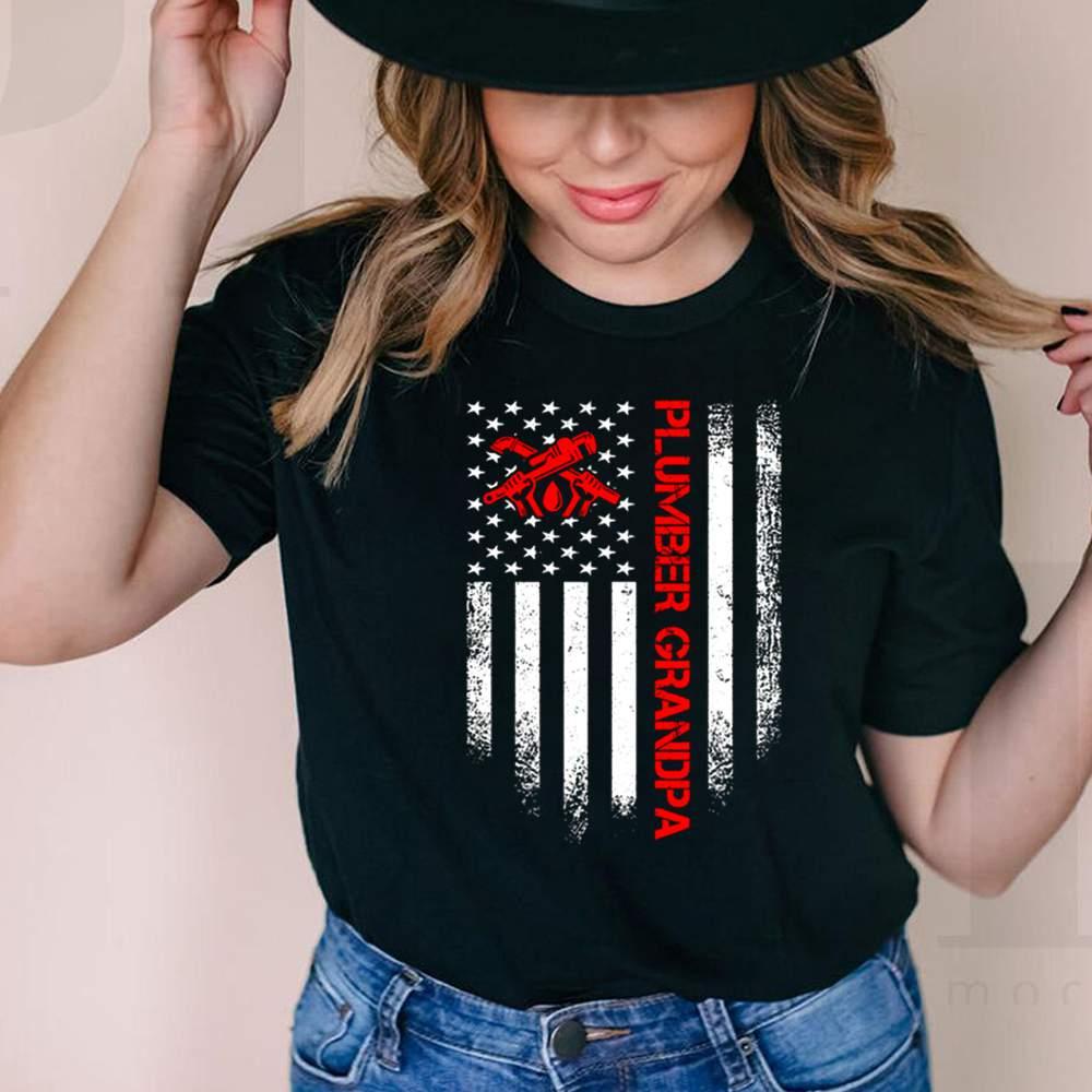 Plumber Grandpa With American Flag shirt 1