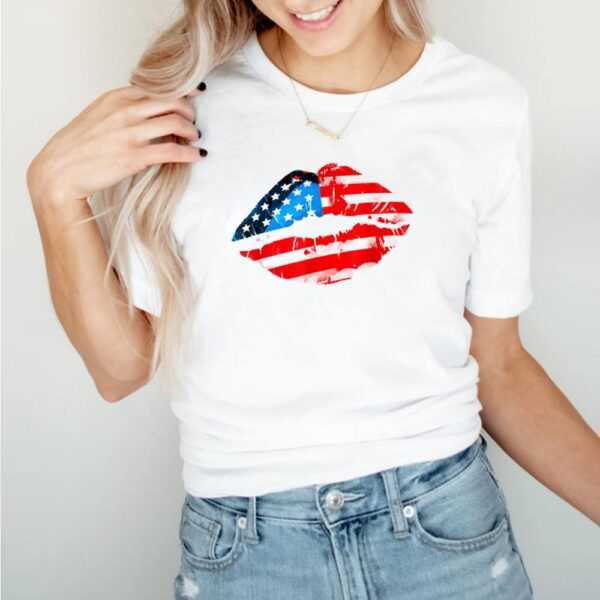 Vintage American Flag Lips 4th Of July Patriotic USA Day T Shirt 5