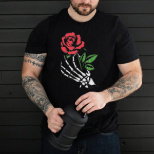 Aesthetic Red Rose Skeleton Hand Darkness and Beauty shirt