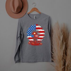 Afro Sunflower African American Flag 4th of July flower T Shirt