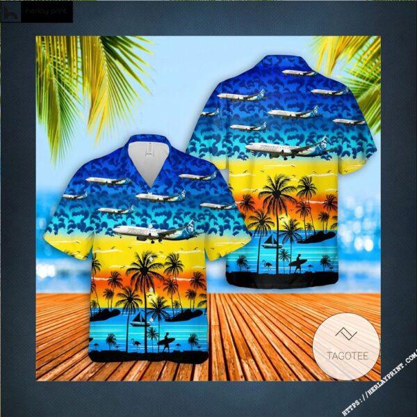 Alaska Airlines Boeing 737-990ER Hawaiian Shirt, Beach Shorts (3)