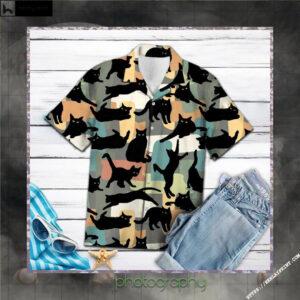Amazing Black Cat Hawaiian Shirt Short
