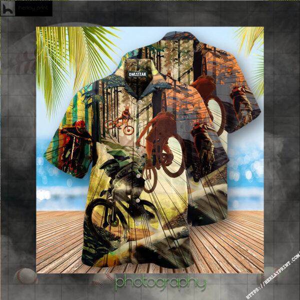 Bike Never Underestimate A Man With Mountain Bike Edition - Hawaiian Shirt
