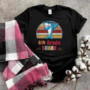 Dabbing Shark 4th Fourth Grade Team Retro Sunset shirt