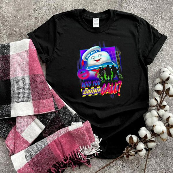 Ghostbusters Who You Gonna Call Retro Neon Poster shirt
