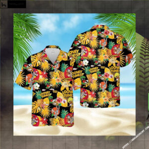Loo-ney Tunes Pineapple Hawaiian Aloha shirt