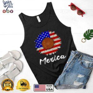 Merica American Flag Sunflower 4th July T Shirt