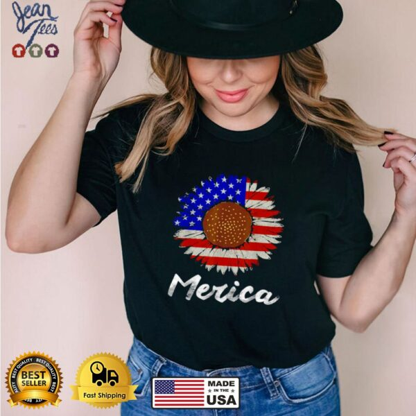 Merica American Flag Sunflower 4Merica American Flag Sunflower 4th July T Shirtth July T Shirt