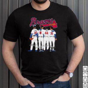 Atlanta Braves 10 Jones 8 Culberson 44 aaron and 31 Maddux signatures shirt