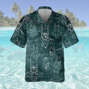 Batman Pattern Uniform Green Hawaiian Hawaiian Shirt