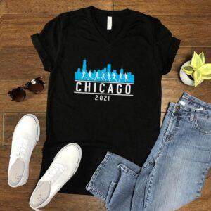 Blue Chicago 2021 Skyline Marathon T shirt