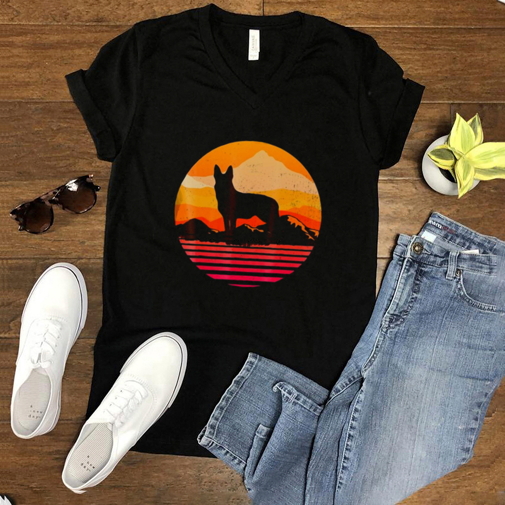 Dog German Shepherd Silhouette With Sun Mountain Vintage T shirt