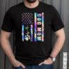 Dog Mom American Flag Heart Beat Funny Dog Mom Hologram T Shirt