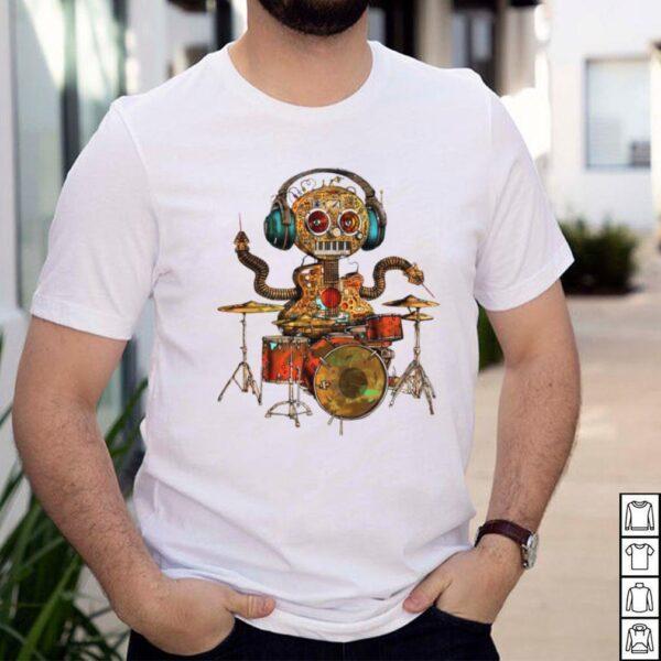 Drum robot play drum shirt