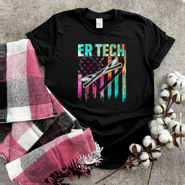 ER Technician Emergency Room Tech Heart Colorful Usa Flag T Shirt