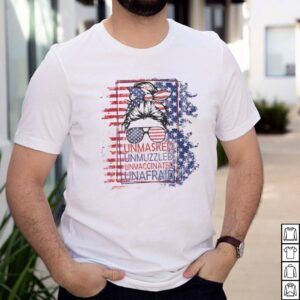 Girl Glasses Unmasked Unmuzzled Unvaccinated Unafraid American flag shirt