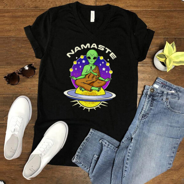 Meditating Alien Yoga Namaste T shirt