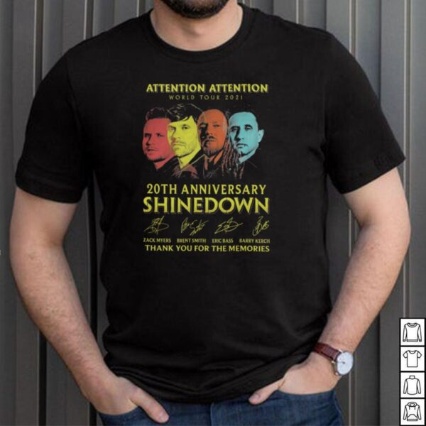 Shinedown Attention Attention World Tour 2021 20th anniversary thank you for the memories signatures shirt