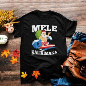 Surfing Santa Mele Kalikimaka Hawaiian Christmas Design T Shirt